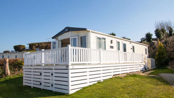 ABI Beachcomber sited and decked at Swanage Coastal Park