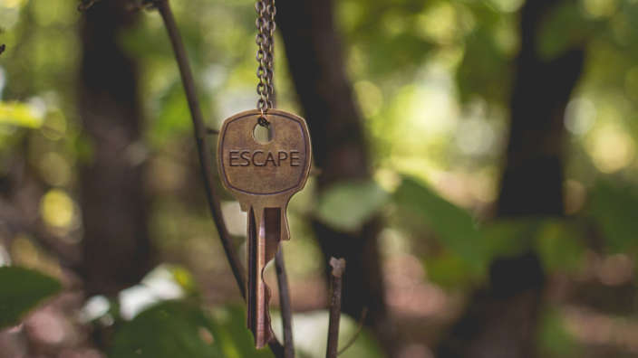 Escape-key-hanging-in-forest