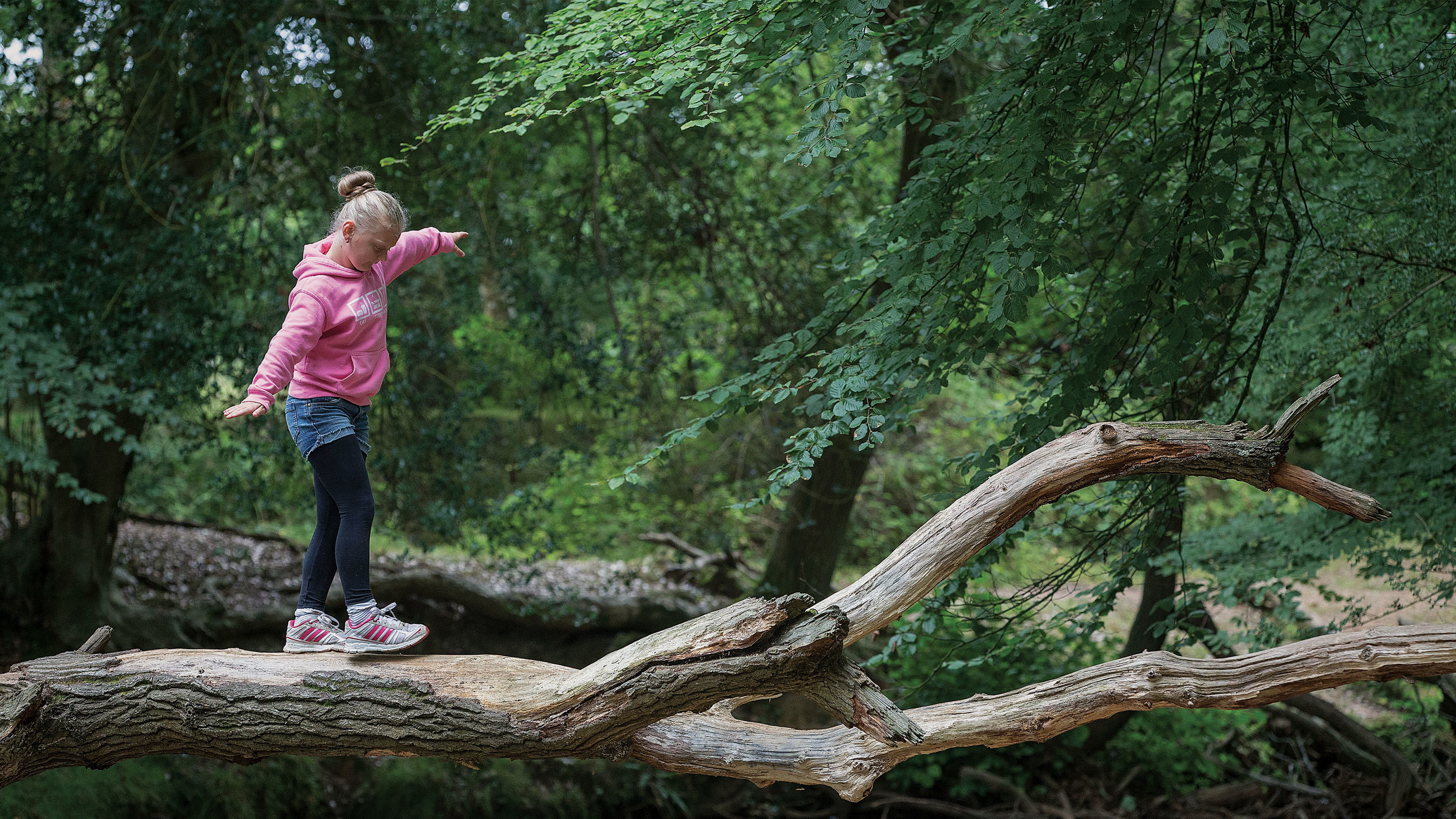 Girl-balancing-on-fallen-tree-woodland