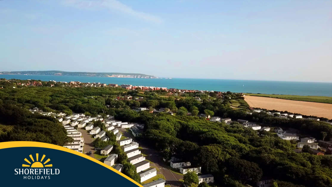 Drone view of Shorefield Country Park with view across to the Isle of Wight