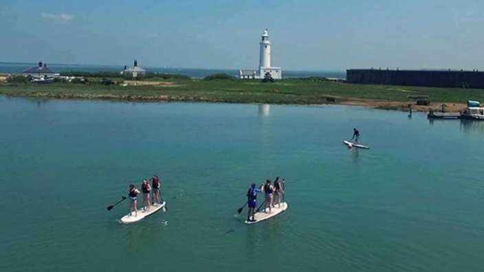 Paddle boarding Hurst Castle Milford on Sea