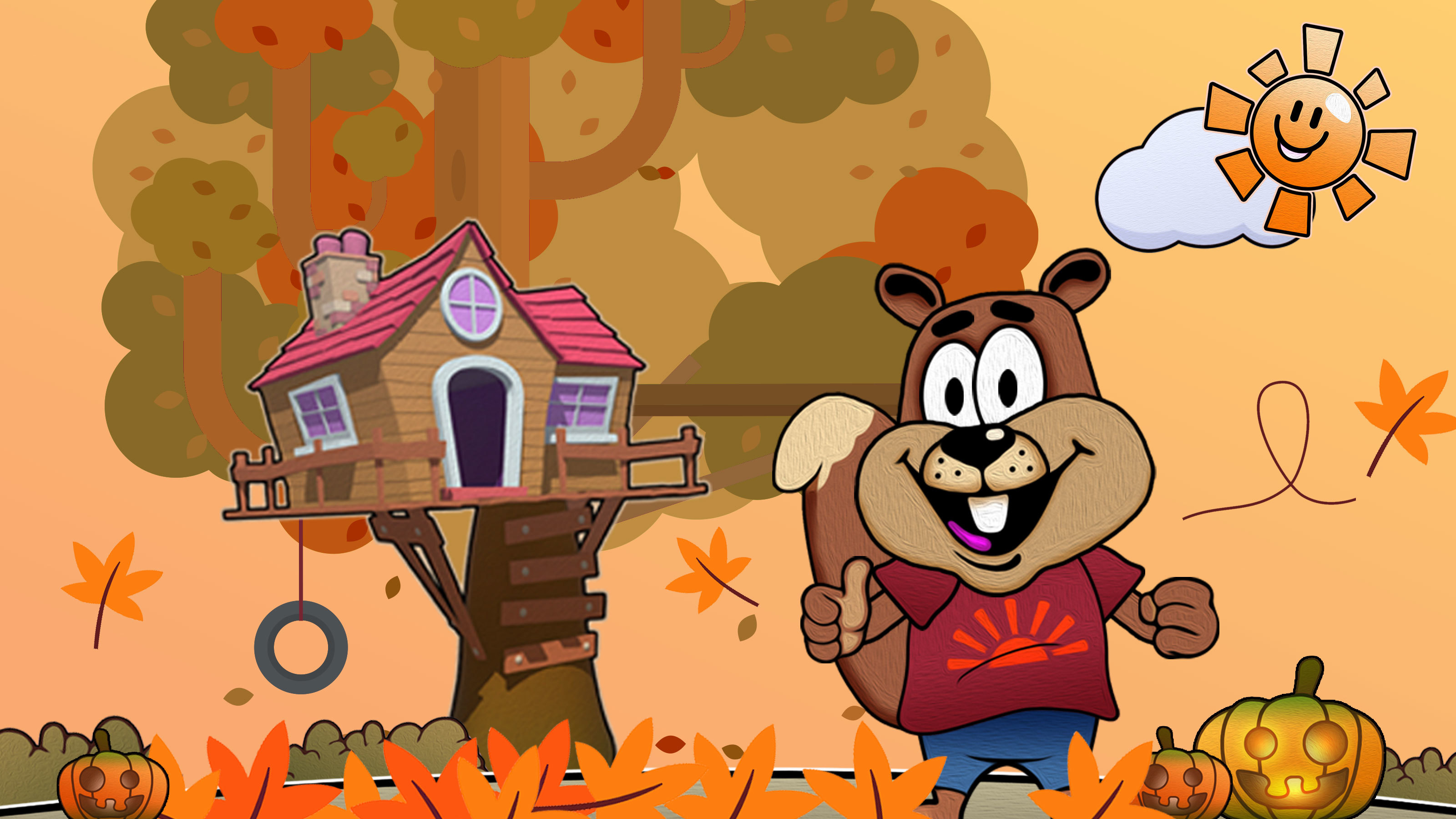 Catroon-of-Cyril-the-squirrel-and-treehouses-in-autumn