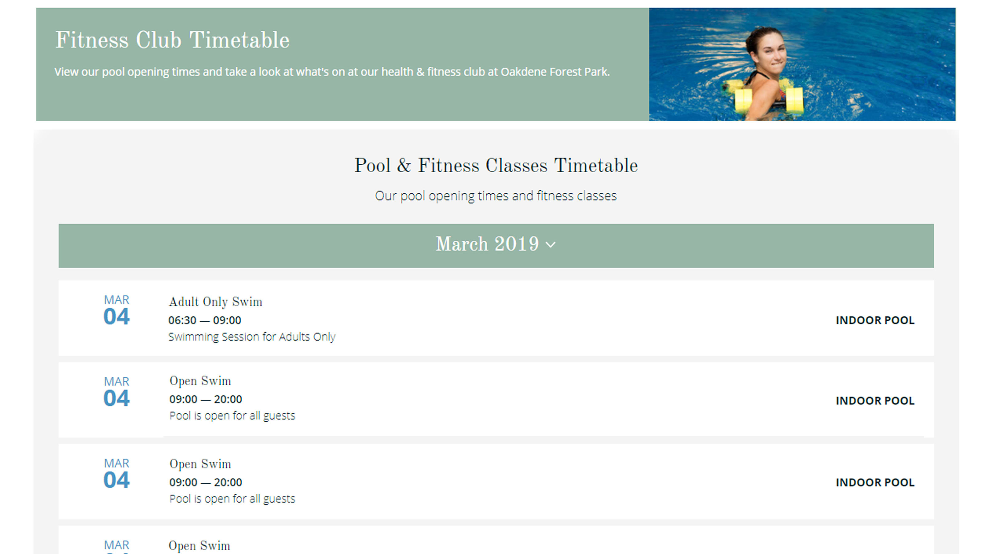 Fitness-timetable