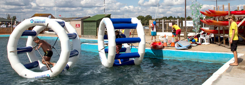 Inflatable rolling cages at Lymington Seawater baths