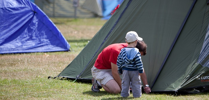 Shorefield Holidays camping, man with child
