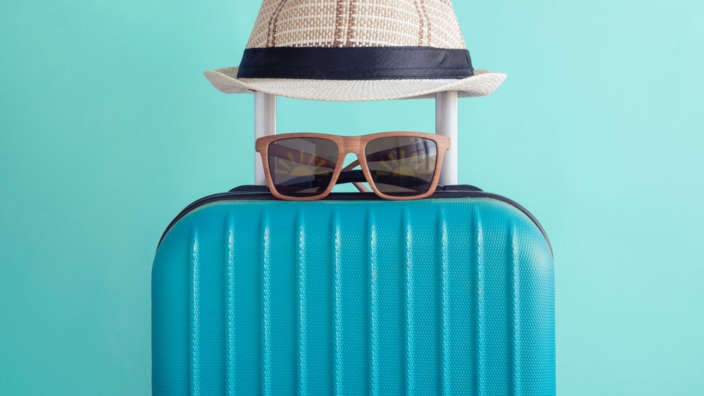 Holiday Suitcase Packing Sunhat Glasses