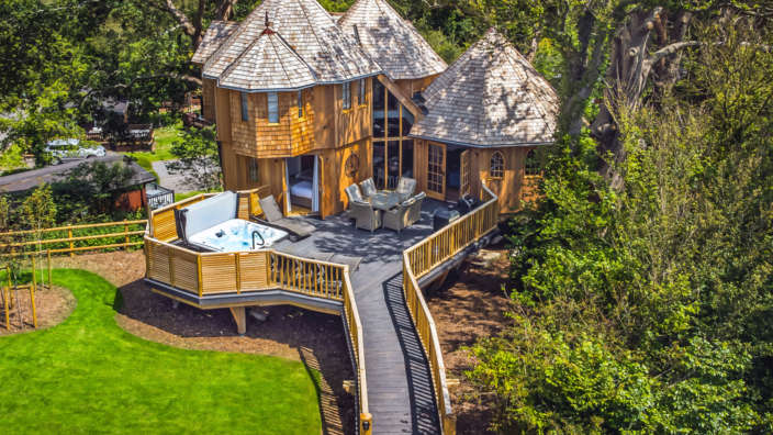 Review coppertree house aerial photo treehouse accommodaiton