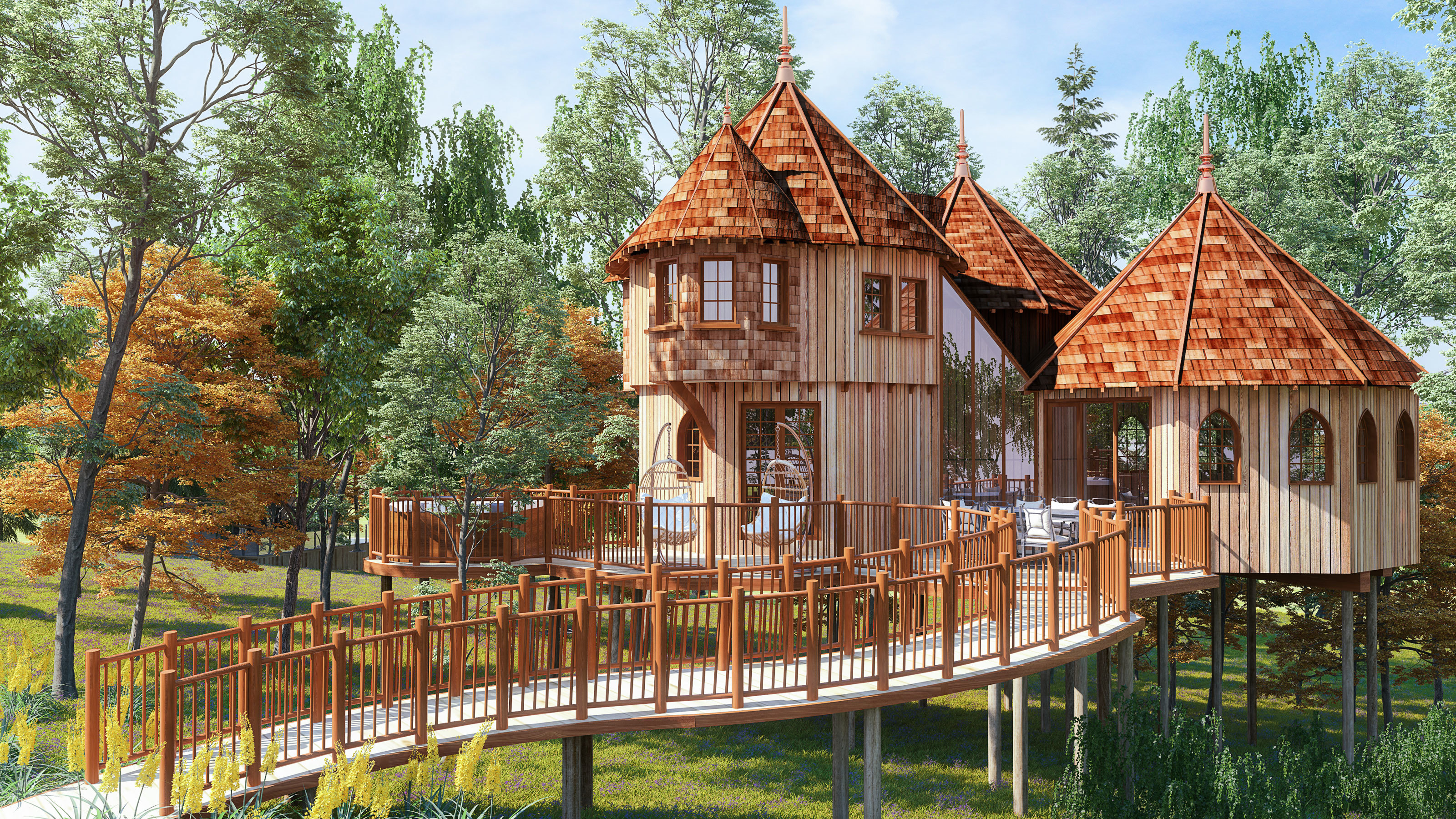 New treehouses at Shorefield Country Park