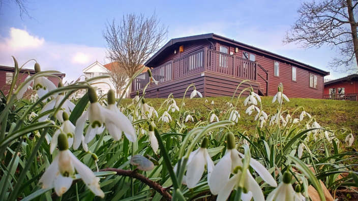 Exterior Of A Select Lodge Surrounded By Snowdrops