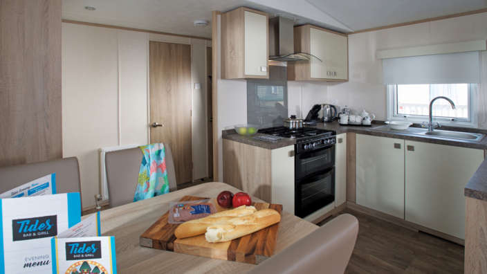 Fully equipped kitchen in the sublie caravans at Oakdene and Shorefield