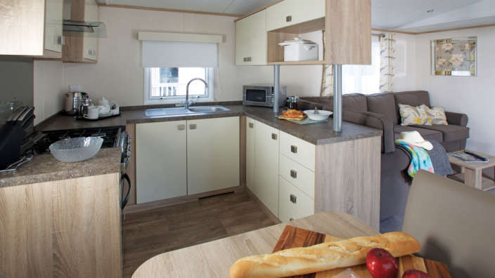 Kitchen of supreme caravans at Oakdene and Shorefield