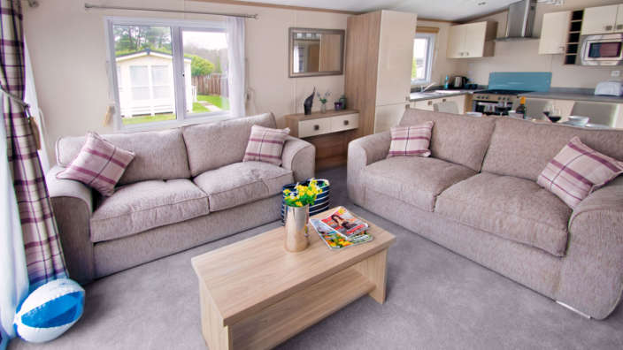 Spacious lounge in sublime caravans at Forest Edge Holiday Park
