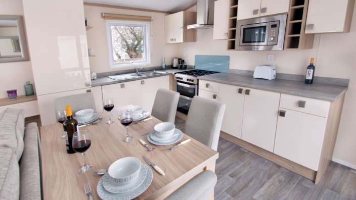Sublime caravan at Forest Edge Holiday Park kitchen