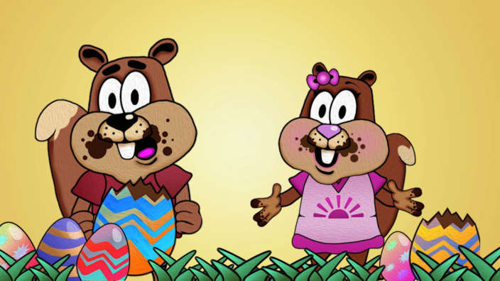 Cyril and Cybil eating easter eggs
