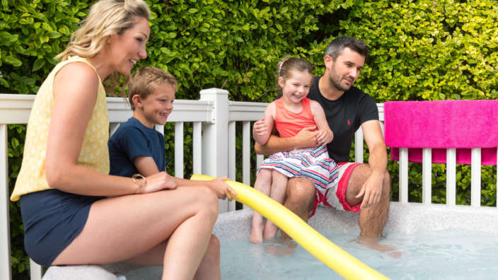 1 Family On Decking With Hot Tub