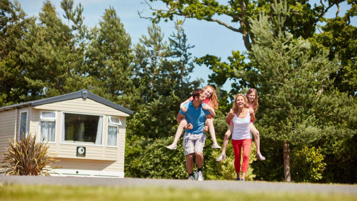 Family Piggyback on a caravan holiday in the New Forest
