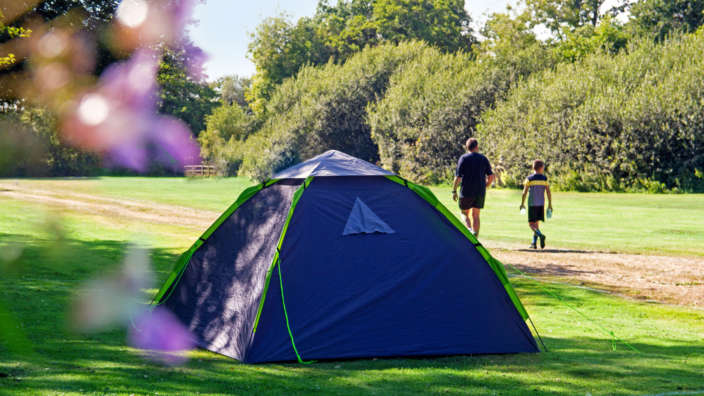 The sporting field camping at Oakdene in Dorset