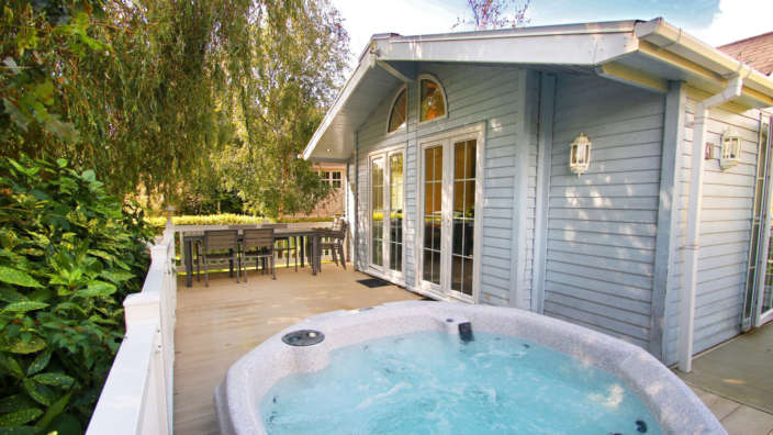 3 Lodge Exterior Decking Hot Tub