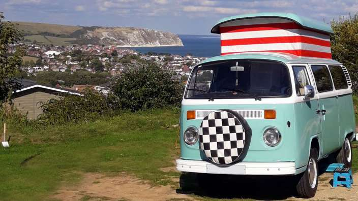 4 Camping Pitch Vw Campervan Overlooking Swanage Bay