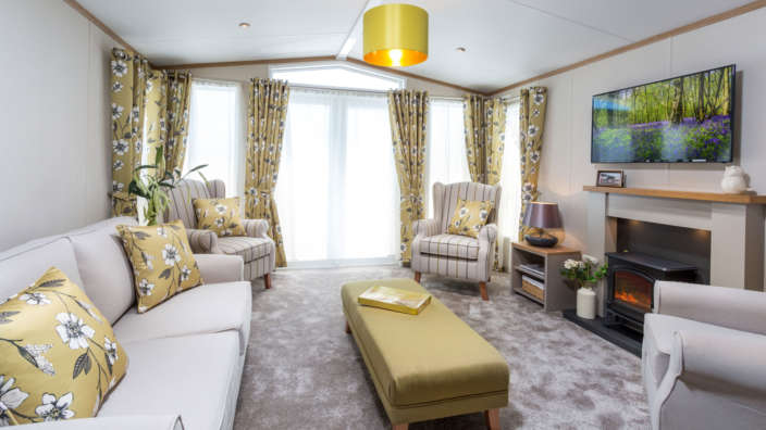 Holiday home interior modern lounge Shorefield Ownership