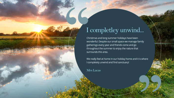 Completely Unwind Holiday Home Owner Quote Sunset Over Pond