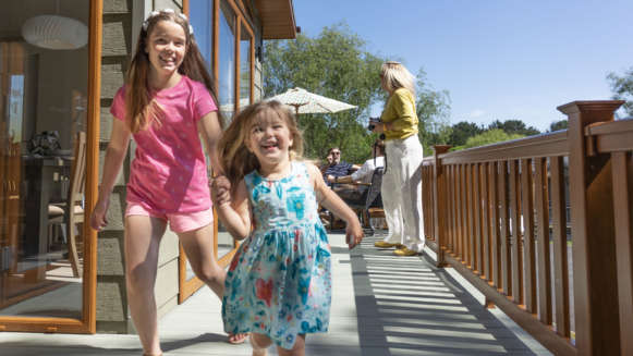 Children Running Decking Holiday Home