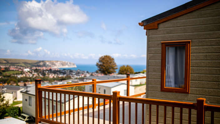 Swanage lodge holiday home overlooking sea