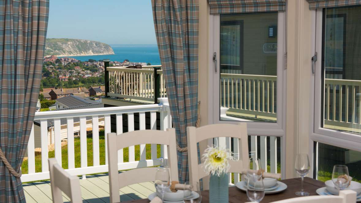 Dining Table With Sea View Swanage Holiday Home