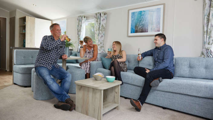 Couples Laughing Caravan Holiday Home