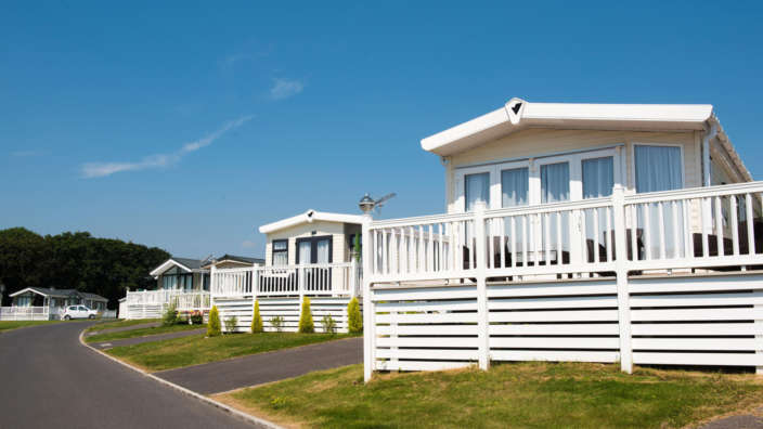 Caravan holiday homes at Shorefield Country Park in the New Forest