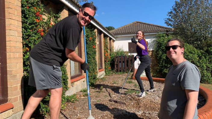 Shorefield Holidays staff creating wildflower areas as part of The Great Big Green Week