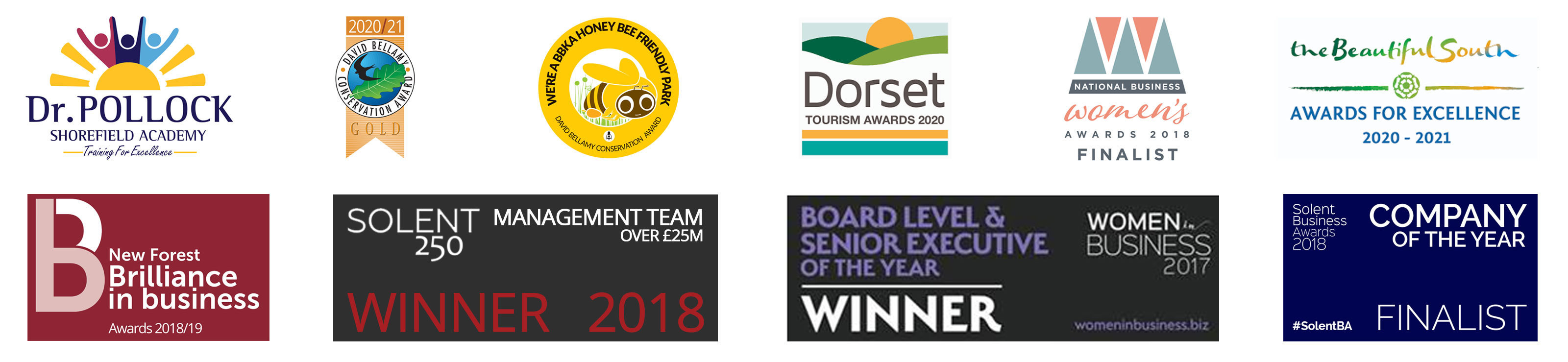 Awards logos attained by Shorefield Holidays