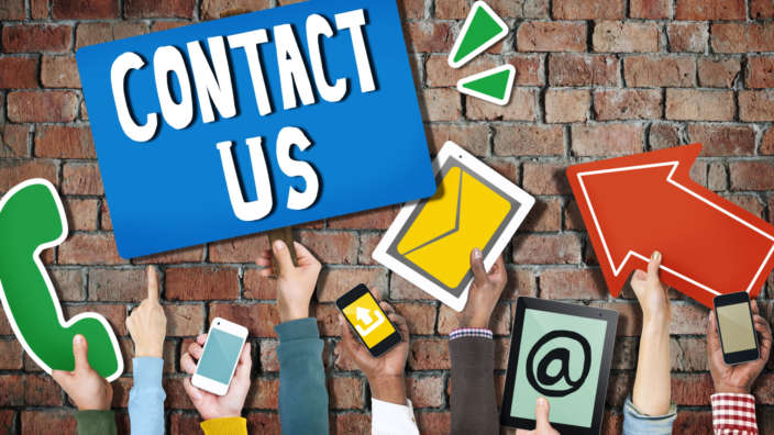 Contact Us Hands Holding Digital Devices