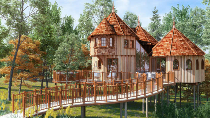 Treehouse CGI Woodland setting Accommodation