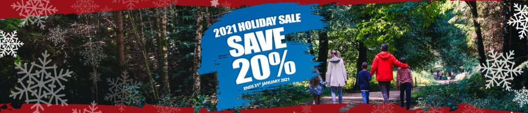 2021 Holiday Sale Header 20 percent off with Shorefield Holidays